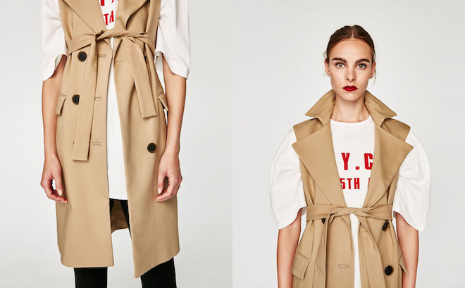 Zara Fall/Winter 2017-2018 Collection Lookbook: beige sleeveless trenchcoat