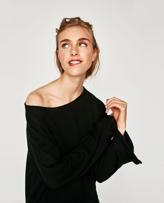 Zara Fall/Winter 2017-2018 Collection Lookbook: off the shoulder black top