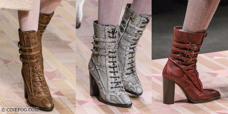 Ankle Boots Fall/Winter 2017-2018 Fashion Trends: lace up python skin high heel boots