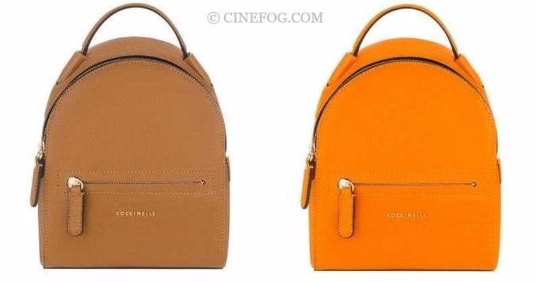 Coccinelle Handbags Fall/Winter 2017-2018: light brown beige and hot orange backpacks