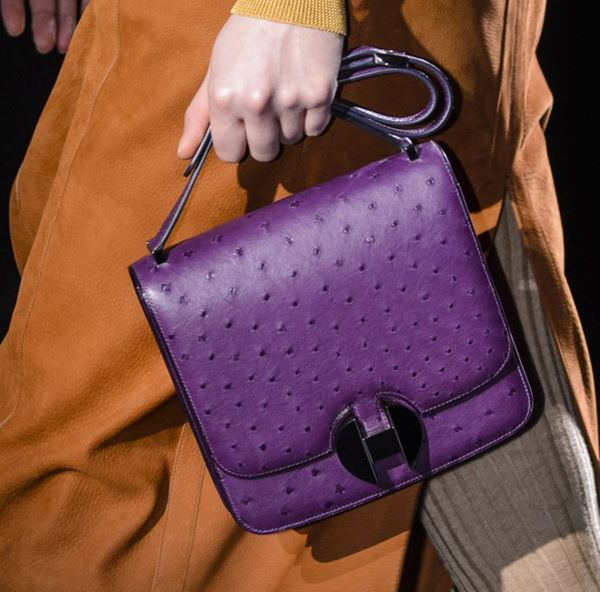 Hermès Handbags Fall/Winter 2017-2018: purple ostrich leather Constance bag