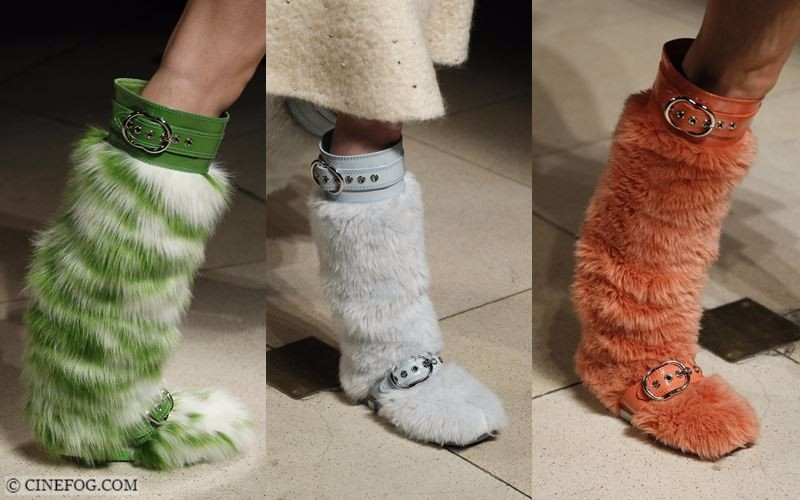 High Boots Fall/Winter 2017-2018 Fashion Trends: faux fur green, light blue and orange buckle boots