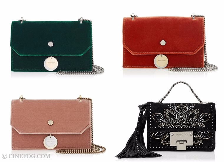 Jimmy Choo bags Fall/Winter 2017-2018: green, red, beige and black velvet purses