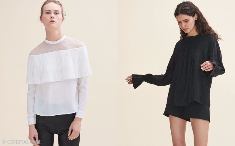 Maje Fall/Winter 2017-2018 Collection Lookbook: white and black long sleeve blouses