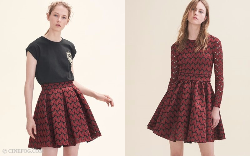 Maje Fall/Winter 2017-2018 Collection Lookbook: red pleated skirt and dress