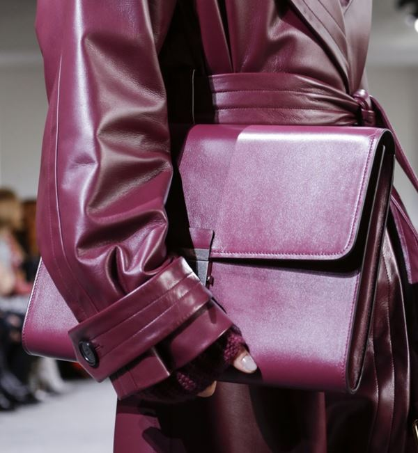 Michael Kors Collection Handbags Fall/Winter 2017-2018: purple leather briefcase clutch