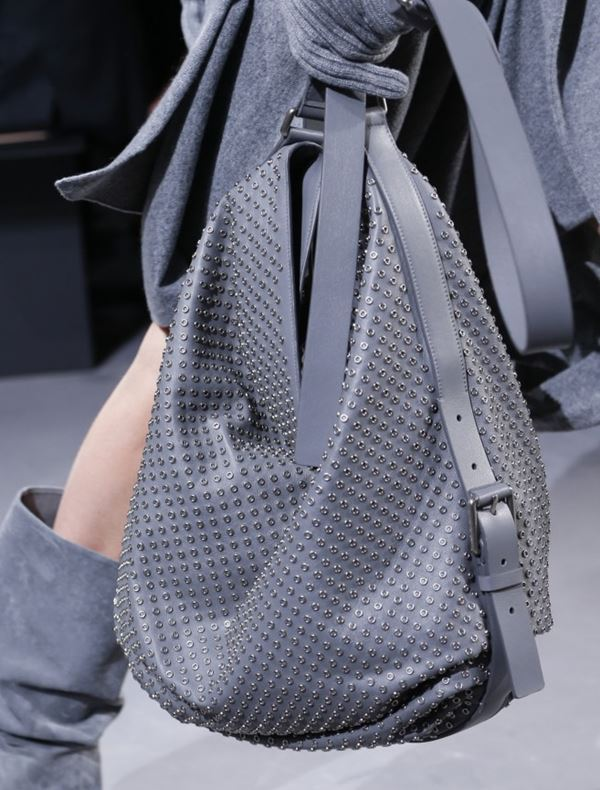 Michael Kors Collection Handbags Fall/Winter 2017-2018: gray leather soft hobo bag with eyelets