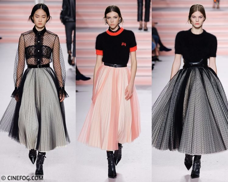 Skirts Fall/Winter 2017-2018 Fashion Trends - pleated gray and coral peach tulle princess skirt