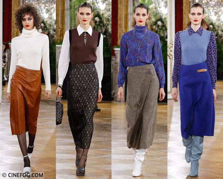 Skirts Fall/Winter 2017-2018 Fashion Trends - midi wrap and pencil skirts with blouses and turtlenecks