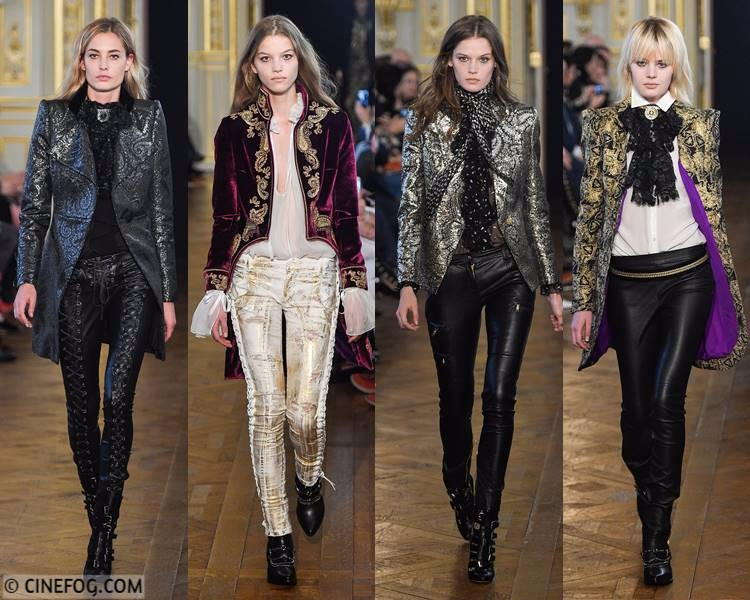 Women's Blazers Fall/Winter 2017-2018 Fashion Trends: shining brocade blazers with skinny pants