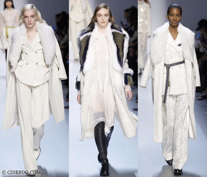 Women's Coats Fall-Winter 2017-2018 Fashion Trends: white coats with classic faux fur collar
