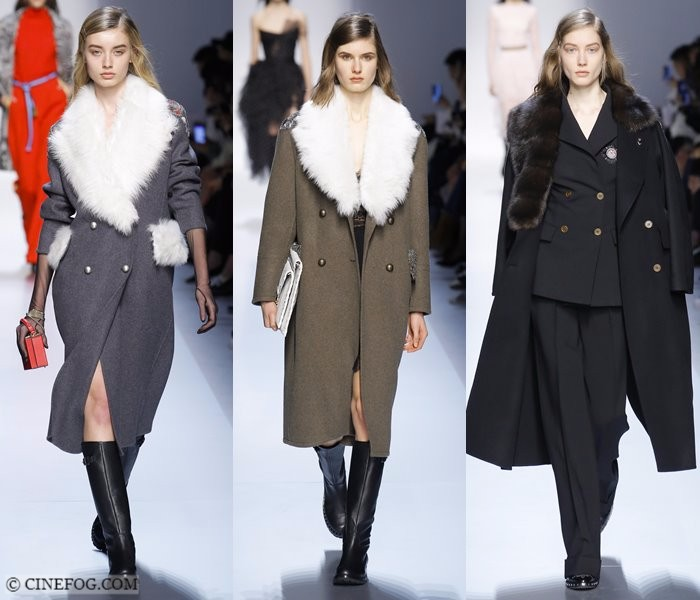 Women's Coats Fall-Winter 2017-2018 Fashion Trends: gray, khaki and black coats with faux fur collars