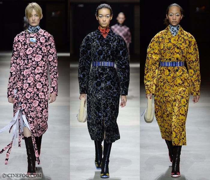 Women's Coats Fall-Winter 2017-2018 Fashion Trends: pink, blue and yellow flower printed coats