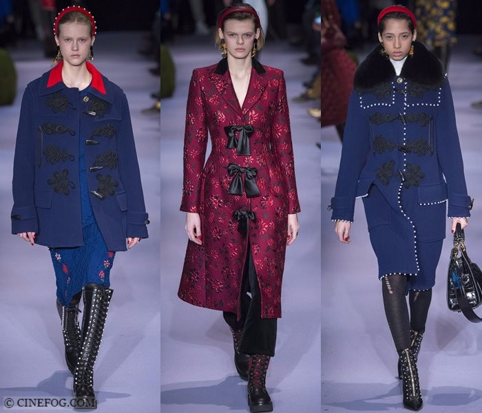 Women's Coats Fall-Winter 2017-2018 Fashion Trends: blue and pink duffle and Victorian coats