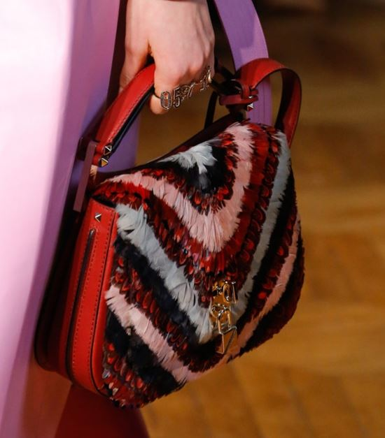 Valentino Bags Fall/Winter 2017-2018: red feather striped handbag