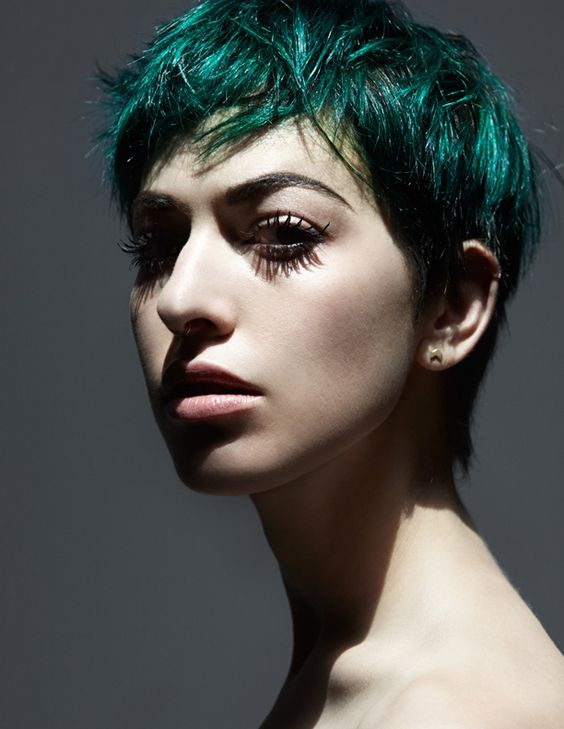Green  hair color ideas - short pixie haircut