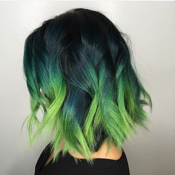 Green  hair color ideas - short messy bob with ombre dye