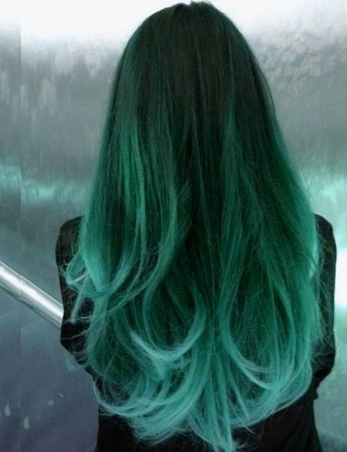 Green  hair color ideas - long dark green hair
