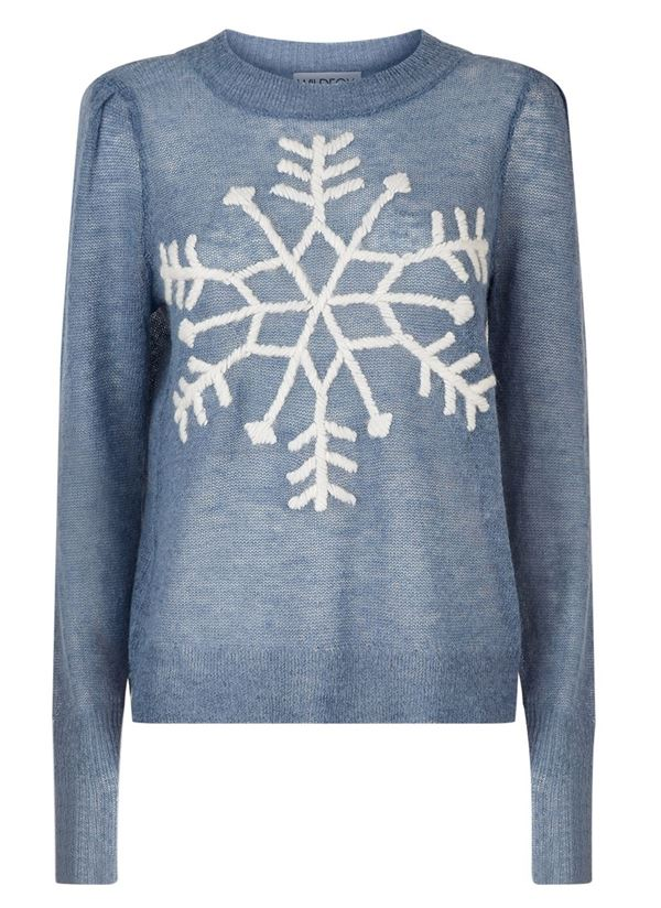 Winter Themed Printed Sweaters 2018 - gray-blue with a snowflake embroidery
