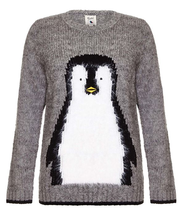 Winter Themed Printed Sweaters 2018 -  simple gray knitted sweater with penguin