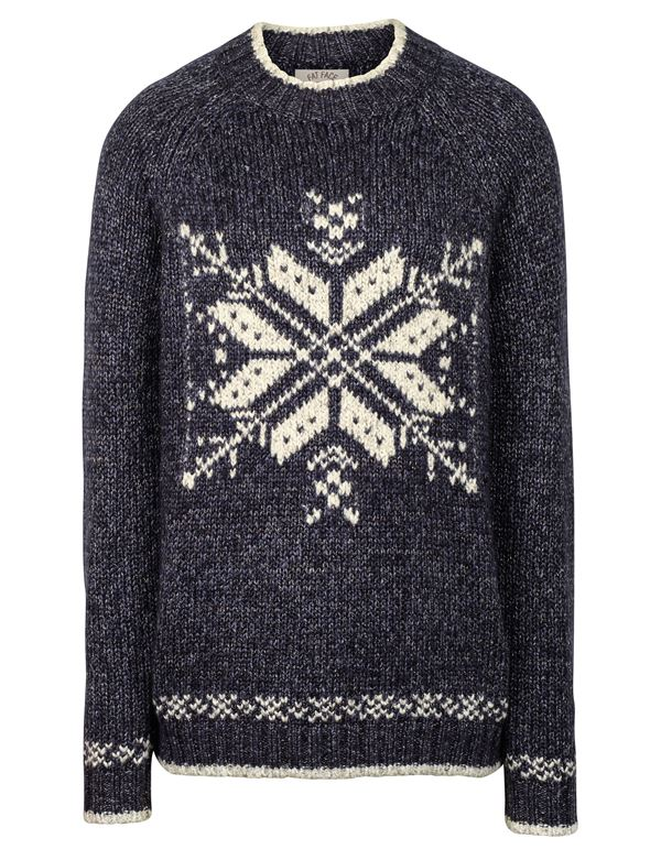 Winter Themed Printed Sweaters 2018 - gray with a big snowflake print