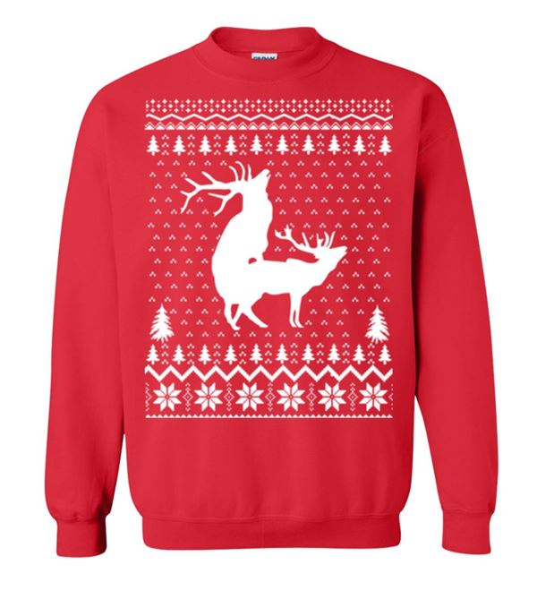 Winter Themed Printed Sweaters 2018 - red with two deers making love
