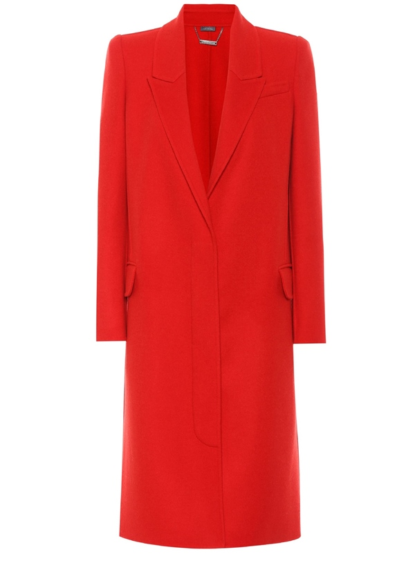 Trendy designer red coats 2018 - Alexander McQueen wool and cashmere tailored coat