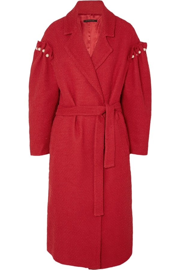 Trendy designer red coats 2018 - Mother of Pearl pearl-embellished cotton-tweed wrap coat