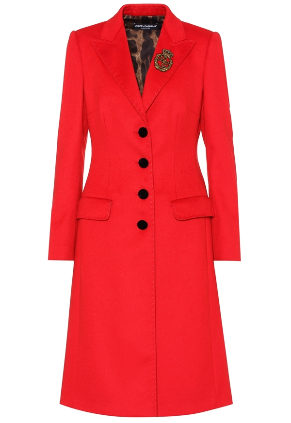 Trendy designer red coats 2018 - Dolce & Gabbana wool and cashmere fitted coat