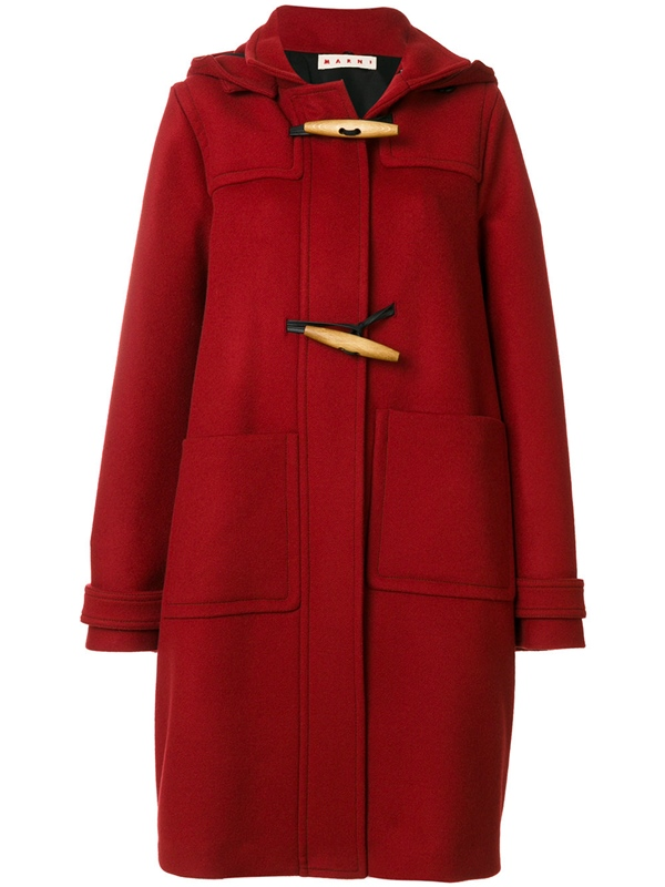 Trendy designer red coats 2018 - Marni cocoon hooded duffle coat with pockets