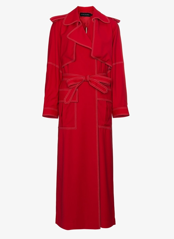 Trendy designer red coats 2018 - Michael Lo Sordo military style long trench coat