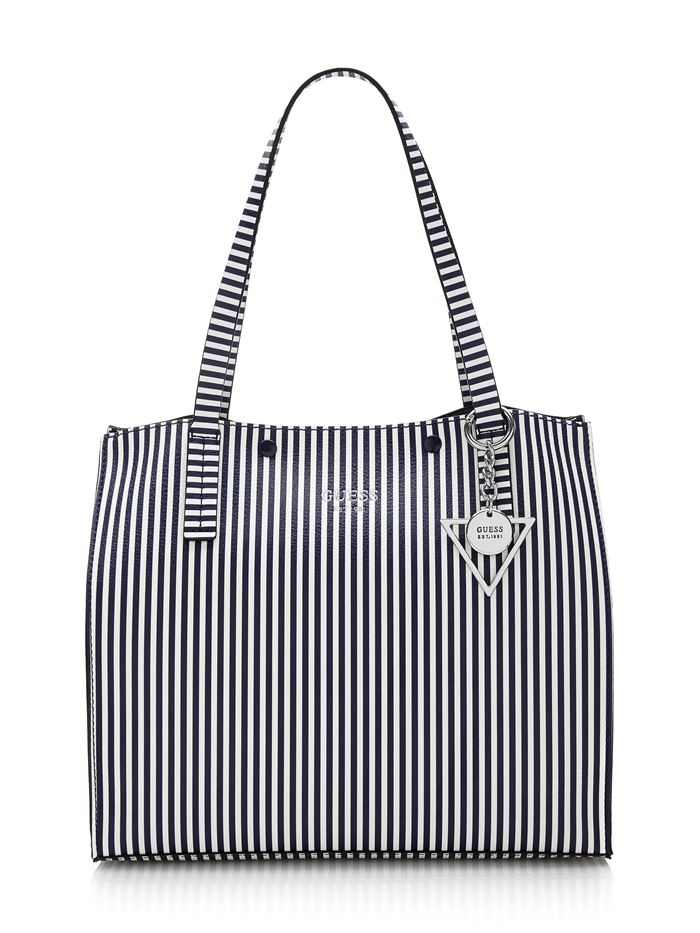 Guess Bag Collection Spring/Summer 2018 - black and white vertical stripe shopper bag
