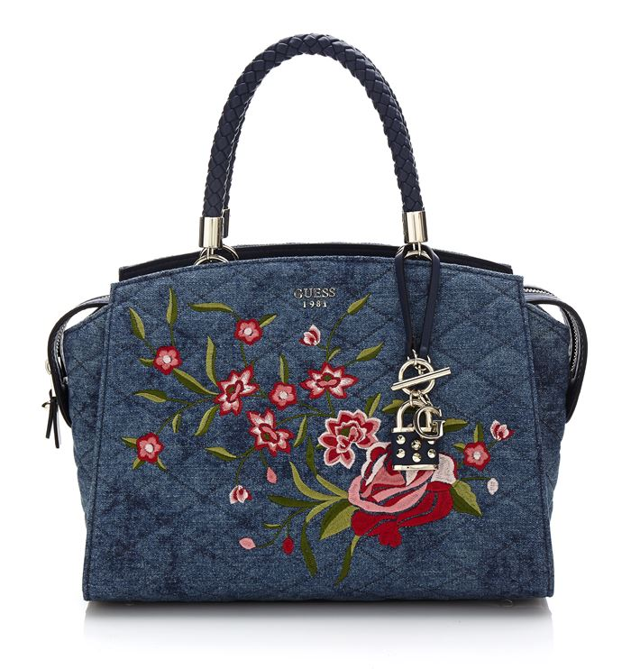 Gray crocodile leather shopper bag Guess Bag Collection Spring Summer 2018  - denim quilted tote handbag with floral appliques a92552a20f
