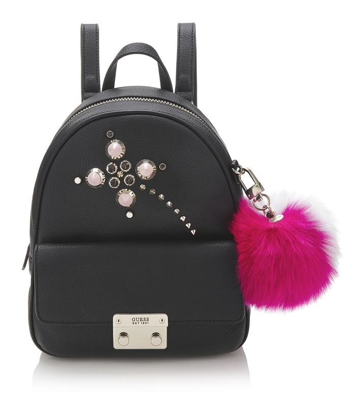 Guess Bag Collection Spring/Summer 2018 - crystal embellished black backpack with faux fur fuchsia pompom