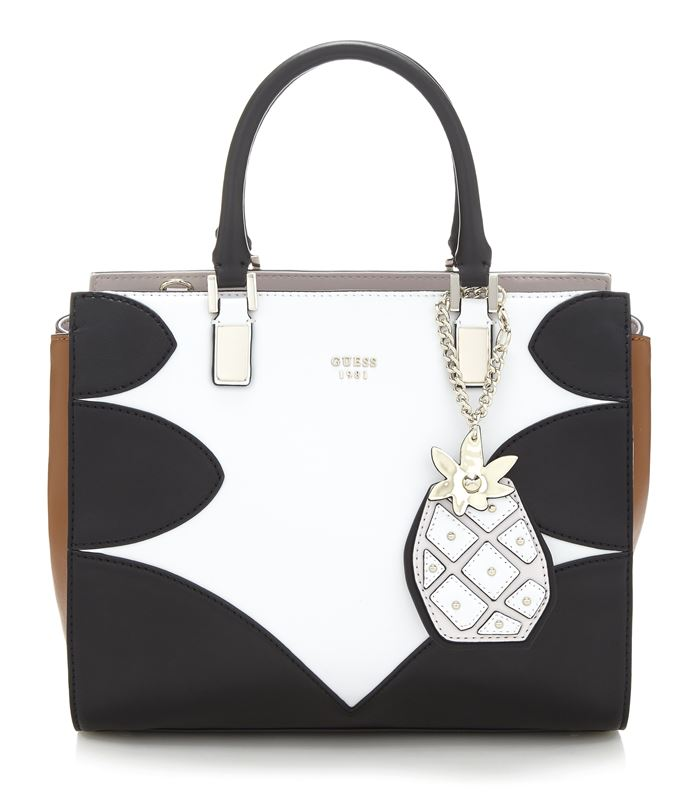 b7646a5e43f8 White leather shopper bag Guess Bag Collection Spring Summer 2018 -  square-shaped black and white tote handbag
