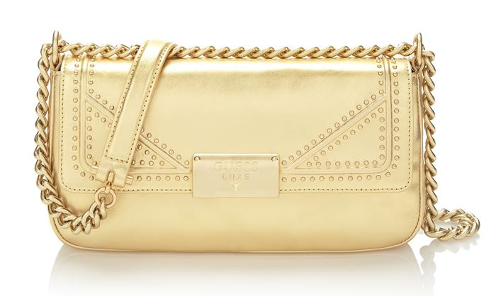 Guess Luxe Bag Collection Spring/Summer 2018 - Metallic gold evening shoulder baguette bag