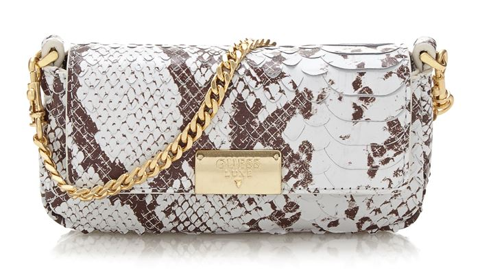 Guess Luxe Bag Collection Spring/Summer 2018 - Snake skin printed shoulder bag with a short golden chain strap