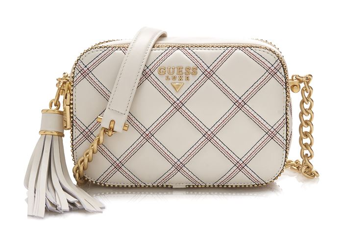Guess Luxe Bag Collection Spring/Summer 2018 - Cream checkered belt tassel bag