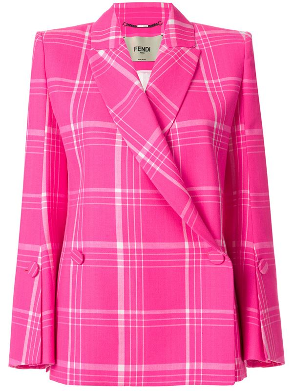 Trendy Plaid Blazers 2018 - Fendi bright pink tartan double-breasted blazer