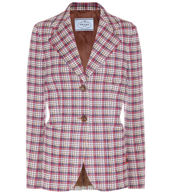 Trendy Plaid Blazers 2018 - Prada polyester fitted blazer