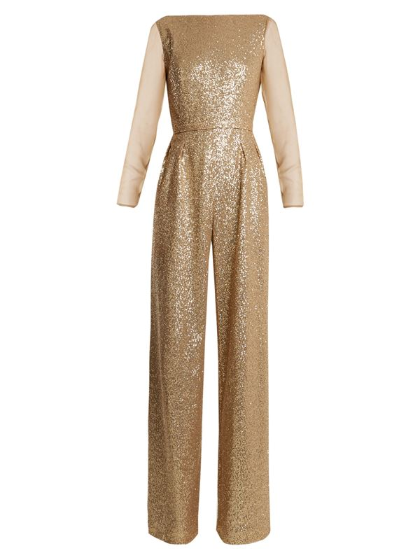 Azzaro gold sequined jumpsuit with long sleeves