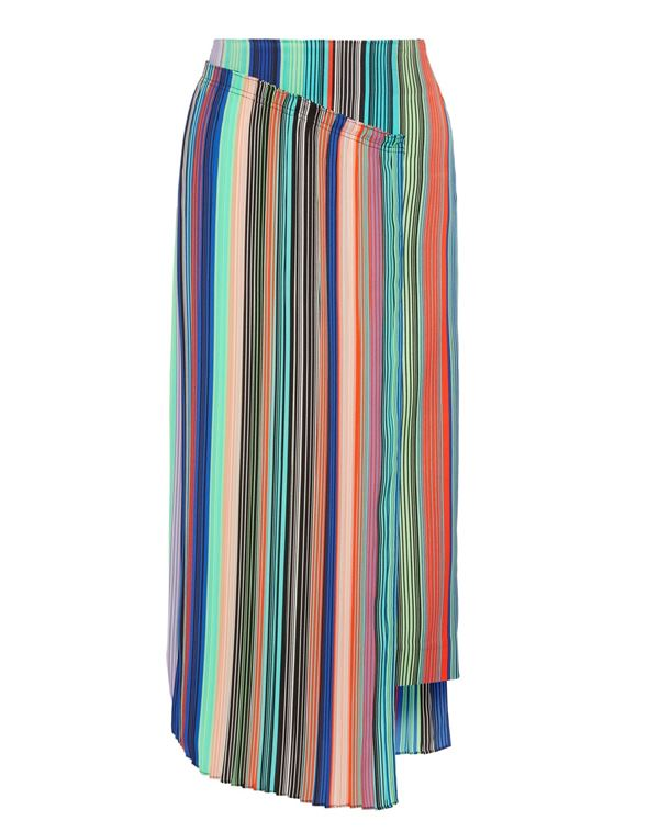 10339610cb Striped Pleated Skirts 2018 - Diane von Furstenberg wrap crepe de chine  midi skirt