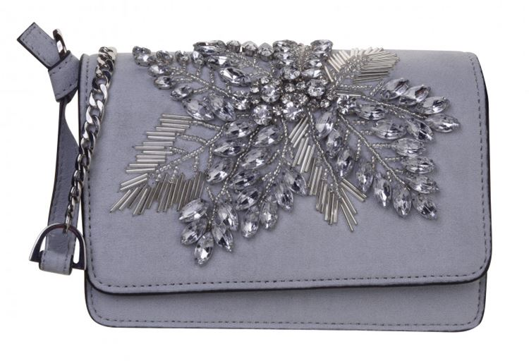 Topshop Bag Collection Spring/Summer 2018 - Gray crystal embroidered shoulder bag