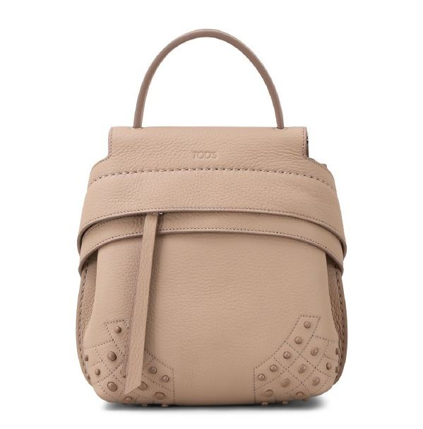 Beige Color Designer Bags 2018 - Tod's small taupe leather mini backpack