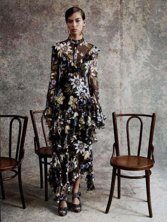 Floral Dresses Spring/Summer 2018 - Erdem Edwardian ruffled and tied maxi dress