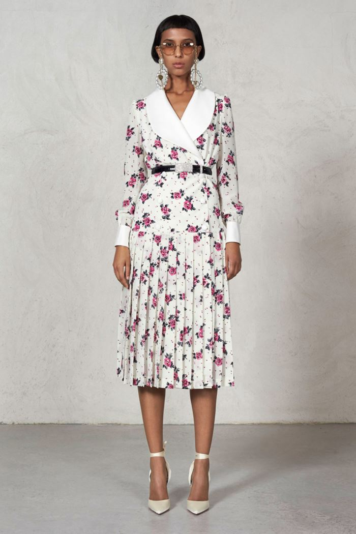 Floral Dresses Spring/Summer 2018 - Alessandra Rich white pleated wrap dress