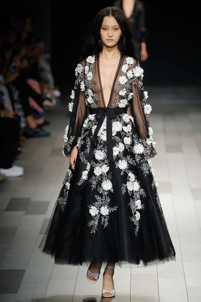 Floral Dresses Spring/Summer 2018 - Marchesa black V-neck see-through A-line dress