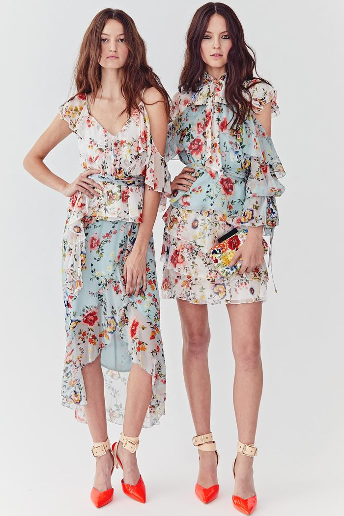 Floral Dresses Spring/Summer 2018 - Alice+Olivia high-low and short chiffon white and mint dresses