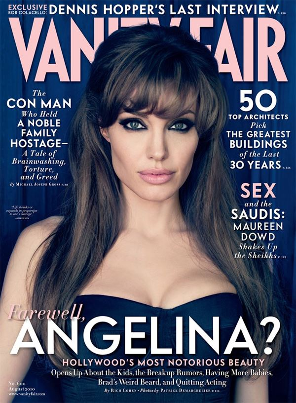 Angelina Jolie Then & Now Photos: Magazine Covers - Bangs and cat-eye makeup for Vanity Fair US (August 2010)