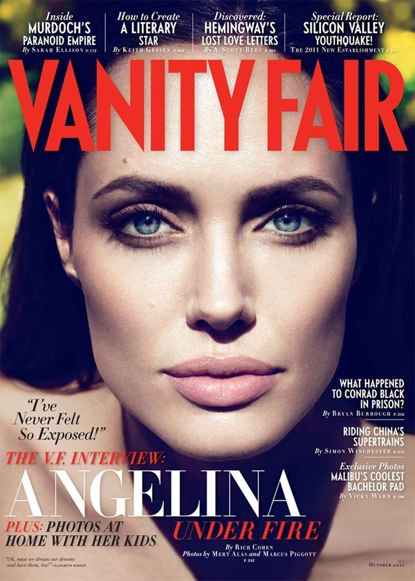 Angelina Jolie Then & Now Photos: Magazine Covers - Close up for Vanity Fair (October 2011)
